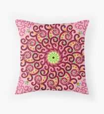 Jellyfish Maroon mandala Throw Pillow