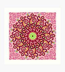 Jellyfish Maroon mandala Art Print
