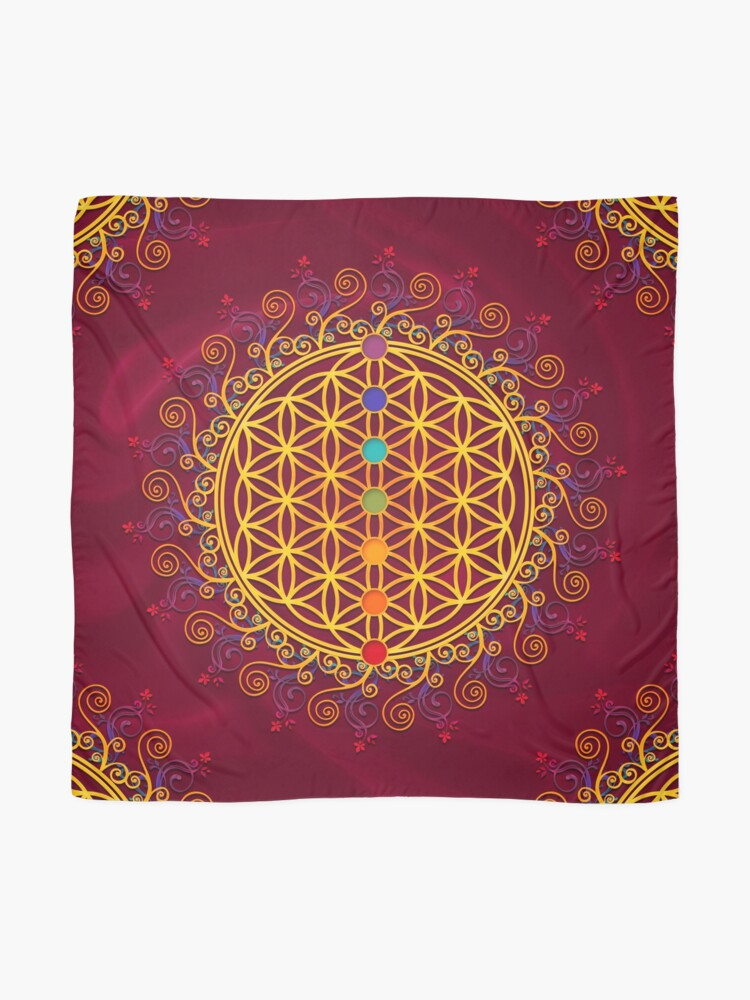 Alternate view of FLOWER OF LIFE, CHAKRAS, SPIRITUALITY, YOGA, ZEN,  Scarf