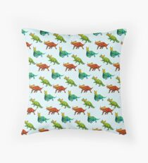 dinos all over - ceratopsians Throw Pillow