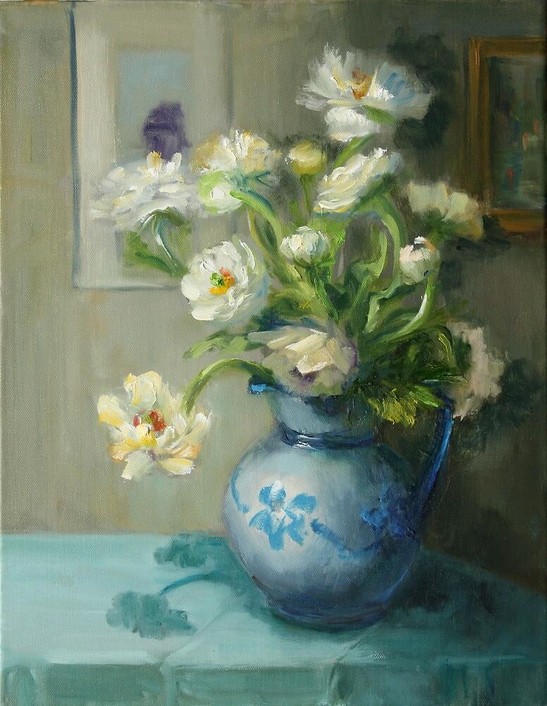 White Anemones by Inna Lazarev