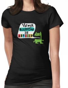 Viewer Discretion is Advised - on black Womens Fitted T-Shirt