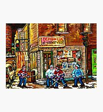 CANADIAN PAINTING DEPANNEUR IN WINTER WITH HOCKEY Photographic Print