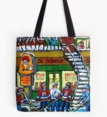 POULET ST.HUBERT BBQ RESTAURANT MONTREAL WITH STREET HOCKEY CANADIAN ART Tote Bag
