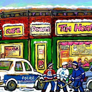 HOCKEY GAME AT TIM HORTON'S MONTREAL WINTER CITY SCENE by CaroleSpandau