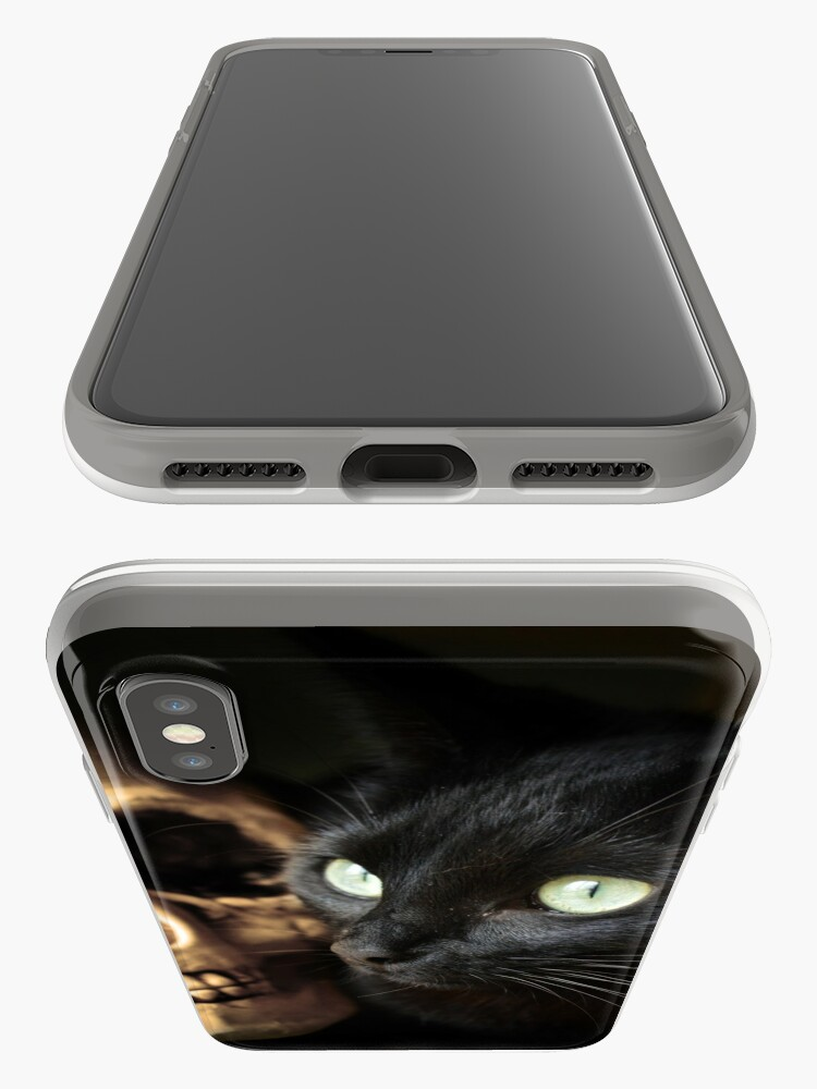 Alternate view of Super Cute Spooky Cat With Human skull iPhone Case & Cover