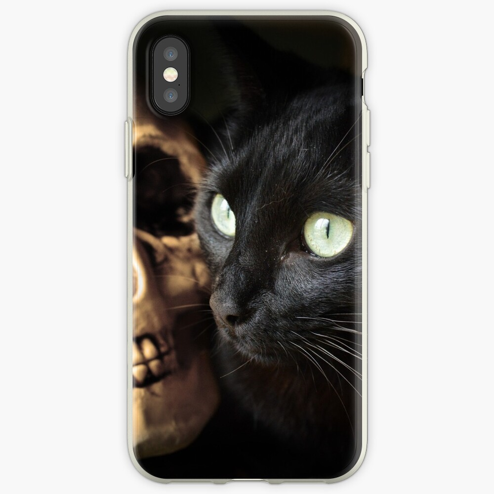 Super Cute Spooky Cat With Human skull iPhone Case & Cover