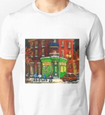 MONTREAL DEPANNEUR AT NIGHT WITH HOCKEY CANADIAN ART T-Shirt