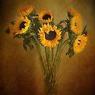 Sun Flowers in a Vase . by Irene  Burdell