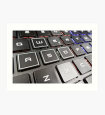 Close-up detail of a QWERTY keyboard of a laptop PC Art Print