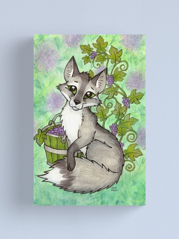Alternate view of Fox and Grapes - Mixed Media Canvas Print