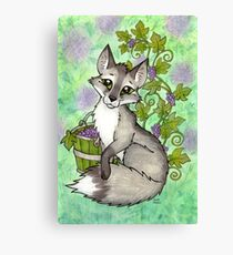 Fox and Grapes - Mixed Media Canvas Print