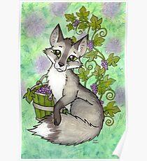 Fox and Grapes - Mixed Media Poster