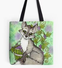 Fox and Grapes - Mixed Media Tote Bag