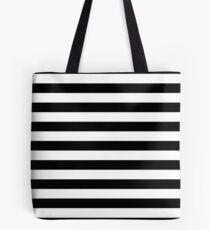 Solid Black and White Large Horizontal Cabana Tent Stripe Tote Bag