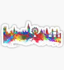 Watercolor art print of the skyline of London Sticker
