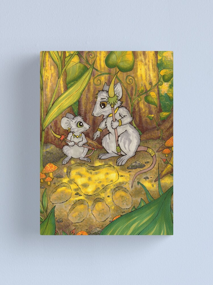 Alternate view of Hunting Lessons - Tribal Mice in the Jungle Canvas Print