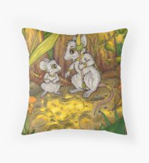 Hunting Lessons - Tribal Mice in the Jungle Throw Pillow