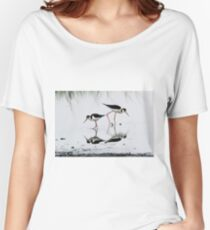 Black necked Stilts with reflection(My reflection is better than yours!) Women's Relaxed Fit T-Shirt