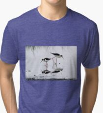 Black necked Stilts with reflection(My reflection is better than yours!) Tri-blend T-Shirt
