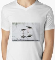Black necked Stilts with reflection(My reflection is better than yours!) Men's V-Neck T-Shirt
