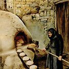 Baking bread - colour drawing by talesofcyprus