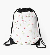 Flower and Leaf Pattern Drawstring Bag