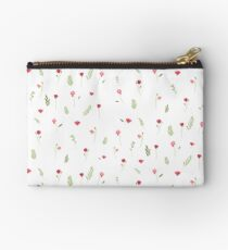 Flower and Leaf Pattern Zipper Pouch