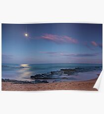 Moon over Turrimetta beach  Poster
