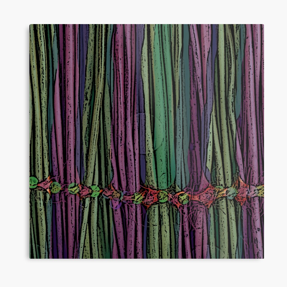 Purple and Green Oriental Enchanting Bamboo Plant Metal Print