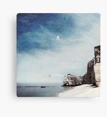 Falaise d'Amont - Etretat Beach Seagulls Canvas Print