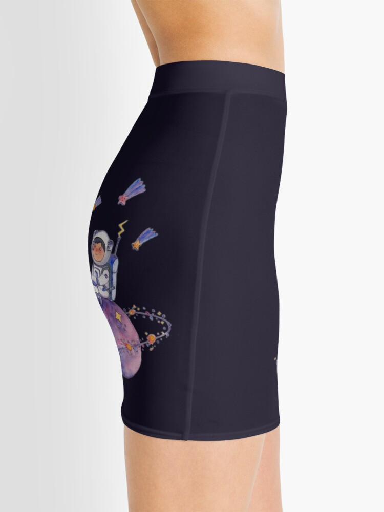 Alternate view of Astronaut catching Asteroids on a Star Mini Skirt