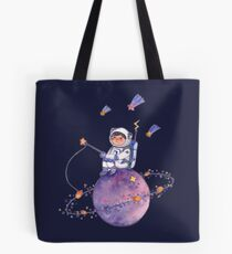 Astronaut catching Asteroids on a Star Tote Bag