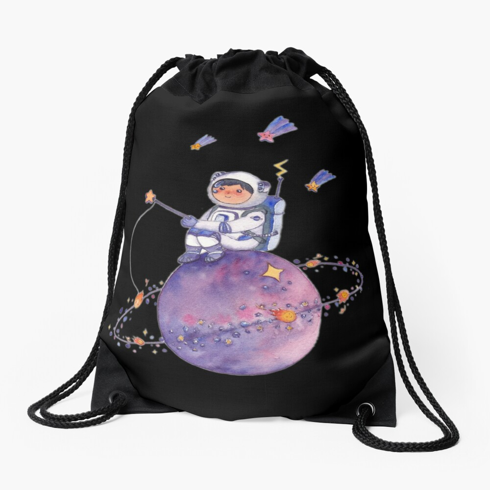 Astronaut catching Asteroids on a Star Drawstring Bag