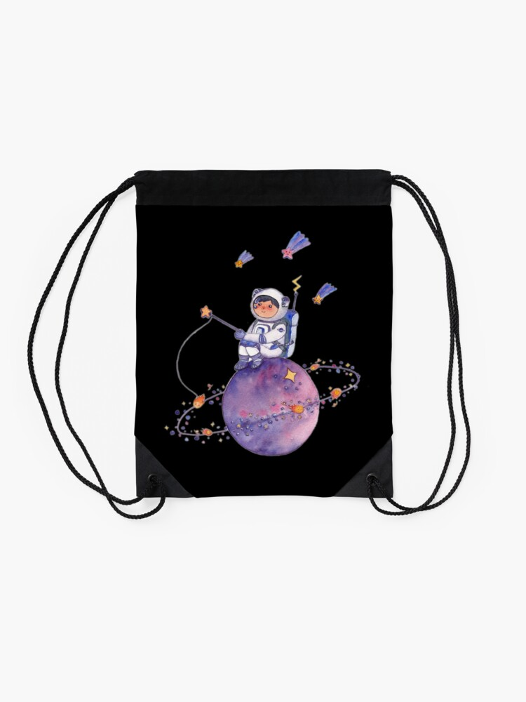 Alternate view of Astronaut catching Asteroids on a Star Drawstring Bag