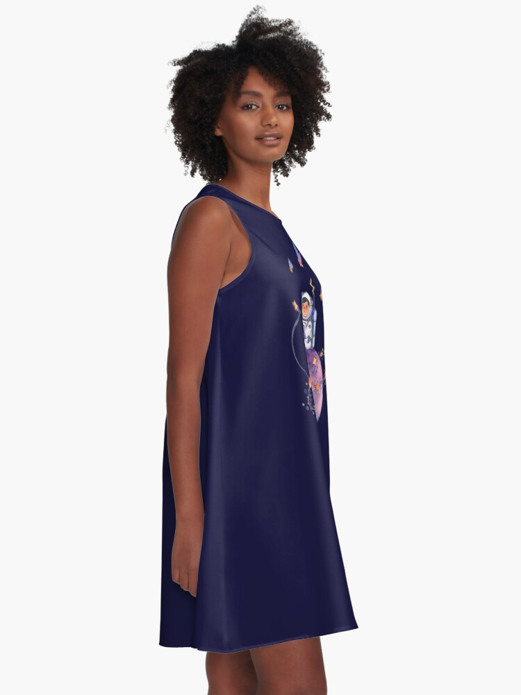 Alternate view of Astronaut catching Asteroids on a Star A-Line Dress
