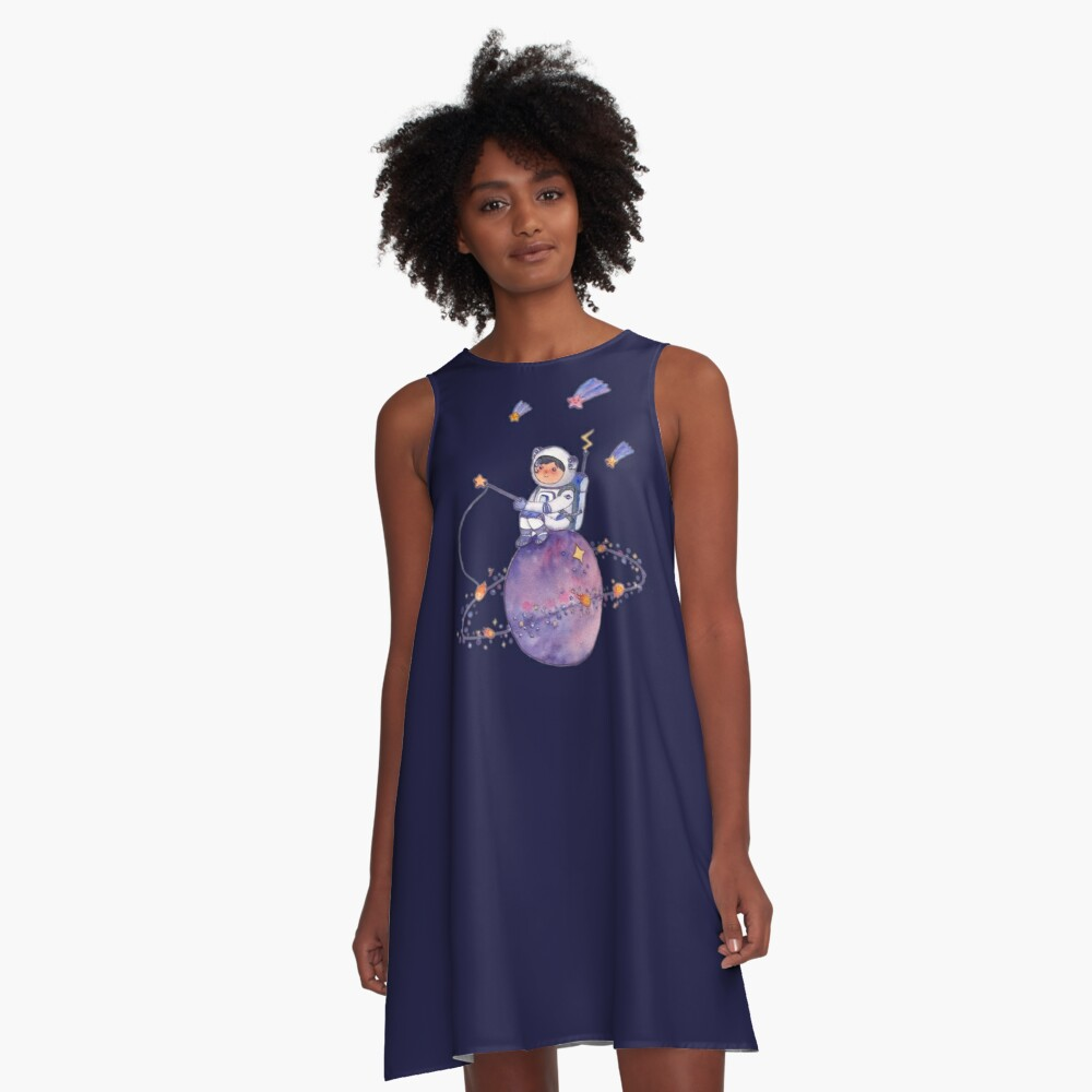Astronaut catching Asteroids on a Star A-Line Dress