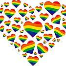 «Bandera del arcoiris Signo del orgullo gay LGBT. Corazón del arco iris» de DuxDesign