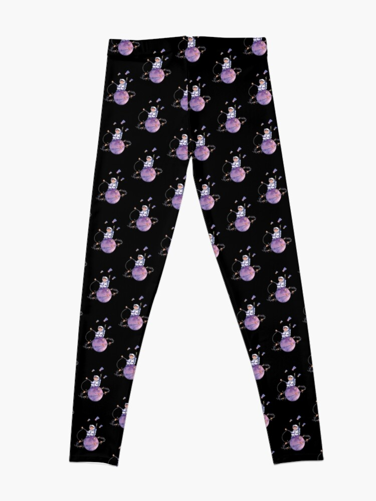 Alternate view of Astronaut catching Asteroids on a Star Leggings