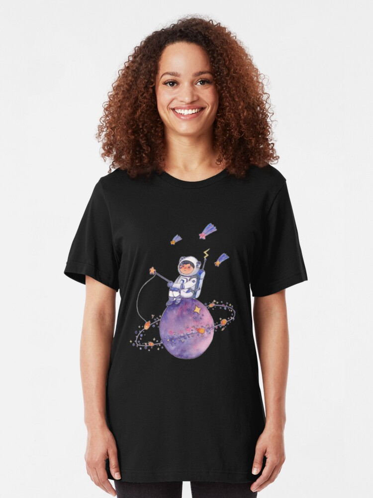 Alternate view of Astronaut catching Asteroids on a Star Slim Fit T-Shirt