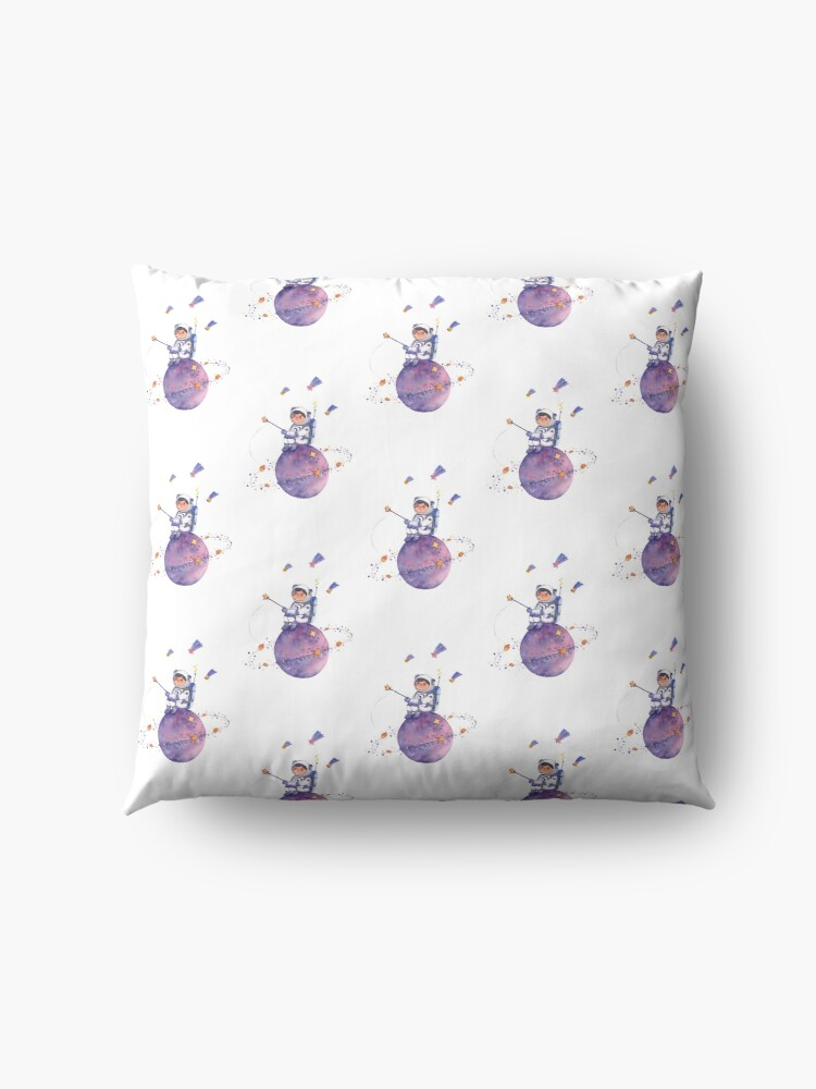 Alternate view of Astronaut catching Asteroids on a Star Floor Pillow
