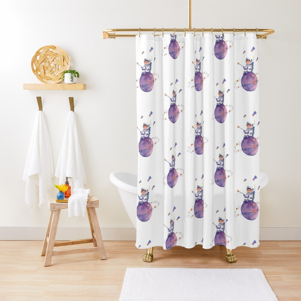 Astronaut catching Asteroids on a Star Shower Curtain