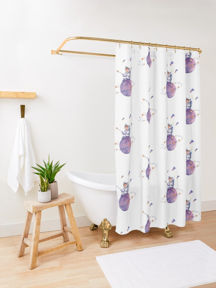 Alternate view of Astronaut catching Asteroids on a Star Shower Curtain