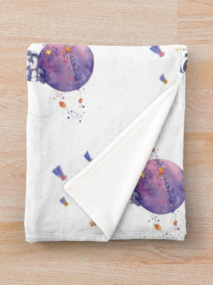 Alternate view of Astronaut catching Asteroids on a Star Throw Blanket