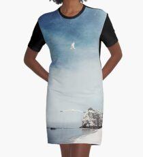 Falaise d'Amont - Etretat Beach Seagulls Graphic T-Shirt Dress