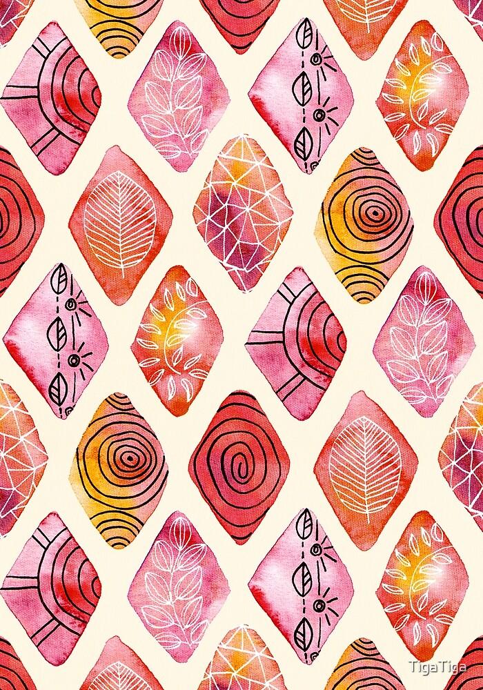 Pattered Watercolor Diamonds  by TigaTiga