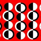 Red Black White Mod Circles by Lois Eastlund
