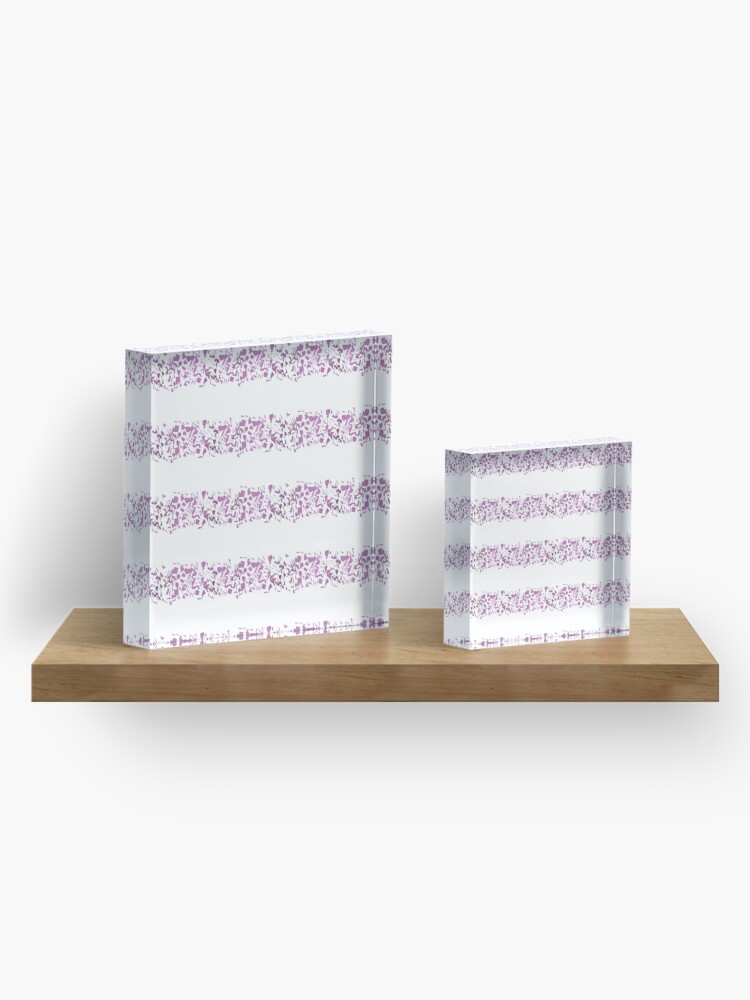 Alternate view of Modern abstract violet purple watercolor geometrical stripes Acrylic Block