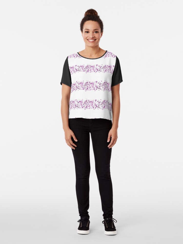 Alternate view of Modern abstract violet purple watercolor geometrical stripes Chiffon Top