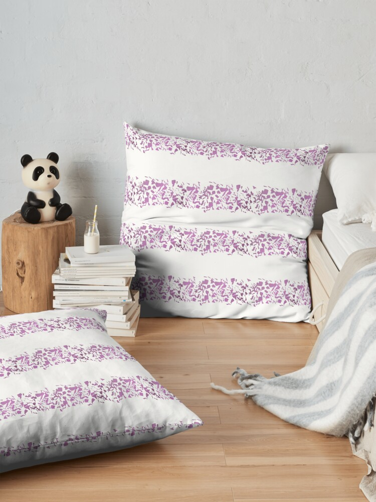 Alternate view of Modern abstract violet purple watercolor geometrical stripes Floor Pillow